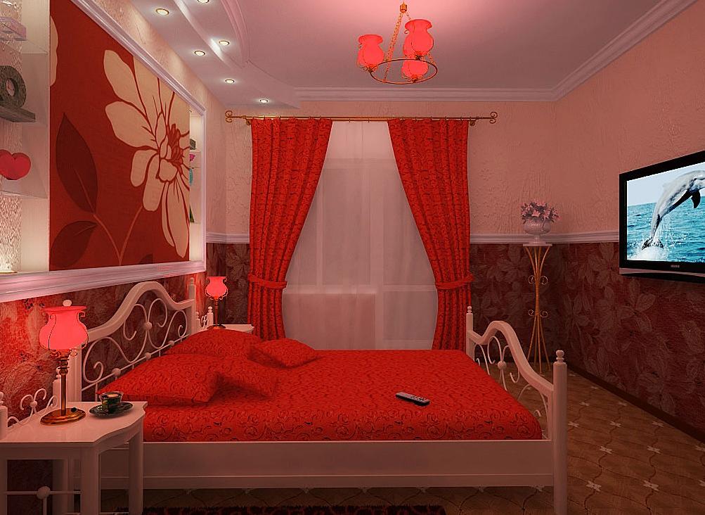 Красно белая комната фото